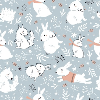 Christmas blue seamless pattern with cute forest animals.