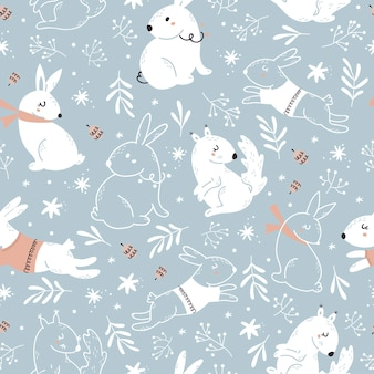 Christmas blue seamless pattern with forest animals.