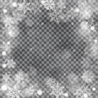 Christmas blurred illustration of complex defocused big and small falling snowflakes in white and gray colors with bokeh effect on transparent background