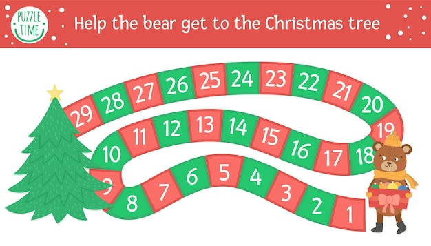 Christmas board game for children with cute animal. educational boardgame with holiday decorations. help the bear get to the christmas tree. funny winter printable activity.