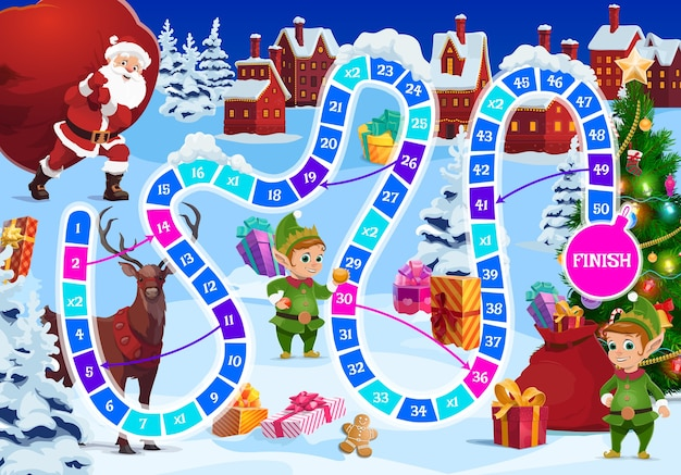 Christmas board game for kids with santa, reindeer and elf characters. santa claus carrying huge sack with gifts, cute elfs and deer, presents, christmas tree cartoon . child roll and move game