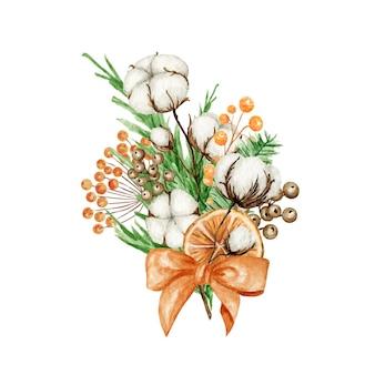 소나무 가지, 계피 스틱, 스타 아니스, 목화 꽃이있는 크리스마스 boho 부케. 수채화 빈티지 구성 격리 된 그림입니다.