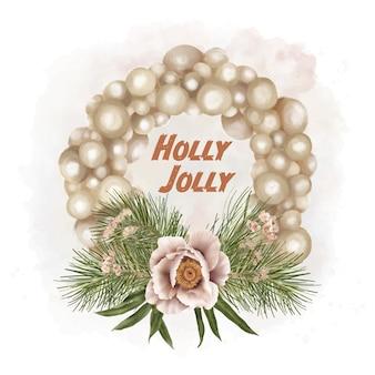 Christmas boho holiday wreath with flower