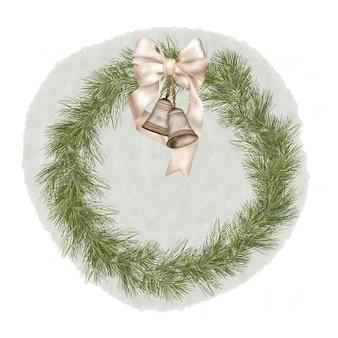 松の枝、リボン、ベルのクリスマス自由奔放に生きるウッドリース