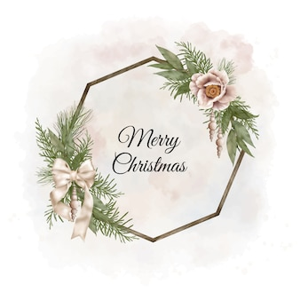 Christmas boho wood wreath with pine branches, ribbon and flowers