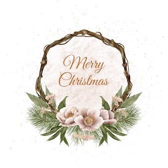 Christmas boho wood wreath with pine branches and winter flowers