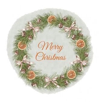 リボン、ベル、オレンジスライスのクリスマス自由奔放に生きるウッドリース