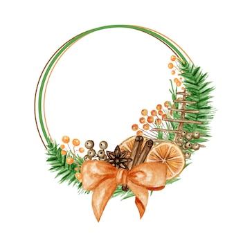松の枝、シナモンスティック、スターアニス、オレンジがセットされたクリスマス自由奔放に生きる花輪フレーム。水彩ヴィンテージイラスト。