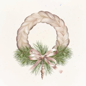 Christmas boho wreath with holiday bow and wooden toy