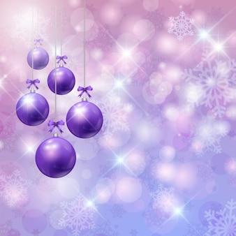 Рождество боке фон с фиолетовыми шарами
