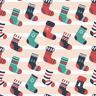 クリスマスブーツ、シームレスパターン