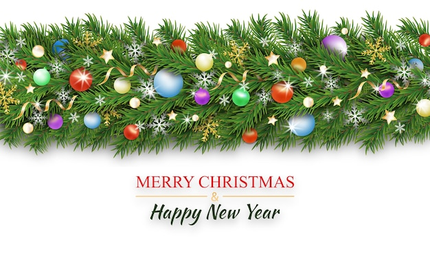 Christmas border decoration. christmas tree branches decorated colorful baubles and balls, snowflake, ribbons and stars