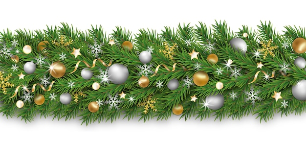 Christmas border decoration and happy new year garland