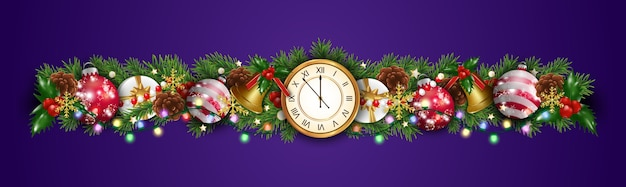 Christmas border decorations garland with fir branches, clock, baubles, balls, golden bells, holly berries, gift box and light. design element for xmas and new year card on purple background.