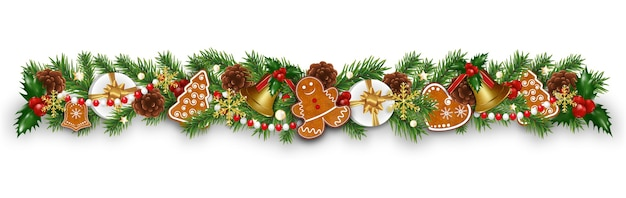 Christmas border decorations garland with fir branches, gingerbread cookies, golden bells, holly berries and cones.