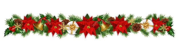 Christmas border decorations garland with fir branches, golden bells, christmas flowers poinsettia, holly berries and gifts boxes.