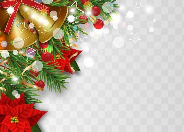 モミの枝、金色の鐘、クリスマスの花のポインセチア、ヒイラギの果実と装飾的なリボンでクリスマスボーダーの装飾。透明な背景にクリスマスや新年のデザイン要素。