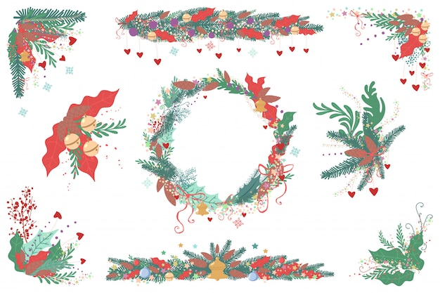 Christmas border, frame, garland, wreath set. holiday decoration element isolated on a white background.