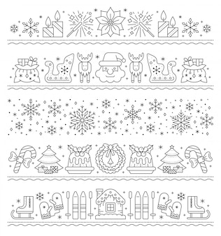 Christmas border line icon, new year, xmas string pattern set, stripe party garland, card .
