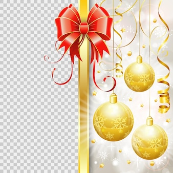 Рождественская граница с шарами, бантом, падающей золотой фигурной лентой. новогодняя рамка с прозрачным фоном. изолированные векторные иллюстрации