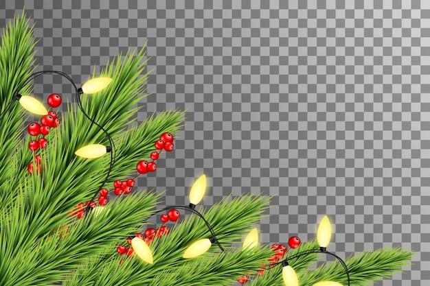 전나무 가지, 열매와 조명 크리스마스 테두리. 크리스마스와 새해 복 많이 받으세요 테두리
