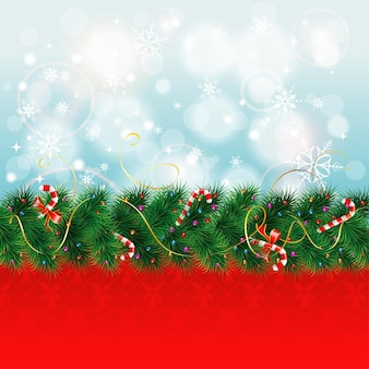 Christmas border with fir branches and candy, vector illustration