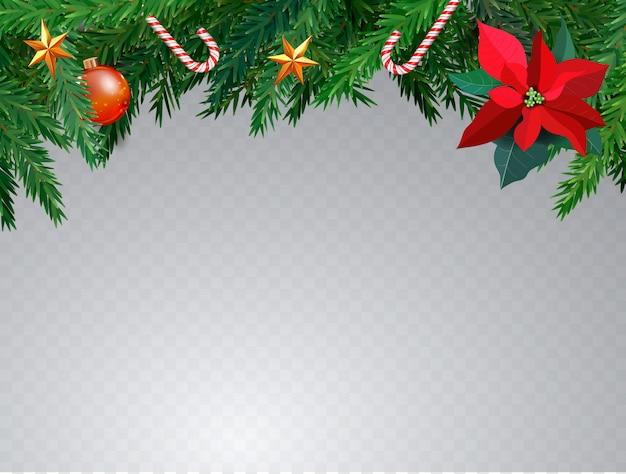 Рождественская граница с еловыми ветками, сладкой тростью, свечой и звездами. рождественская открытка с copyspace. цветок омелы. реалистичная. прозрачный