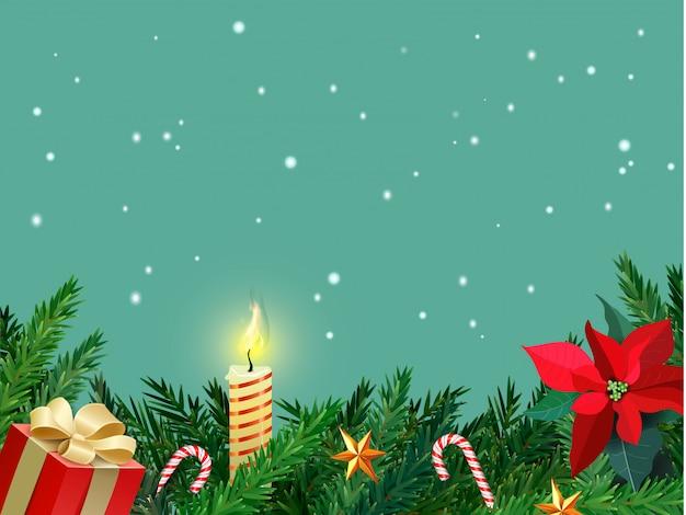 Рождественская граница с еловыми ветками, сладкой тростью, свечой и звездами. рождественская открытка с copyspace. цветок омелы. реалистичная. со снегом