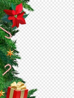 Рождественская граница с еловыми ветками, сладкой тросточкой, свечой и звездами. рождество. цветок омелы.