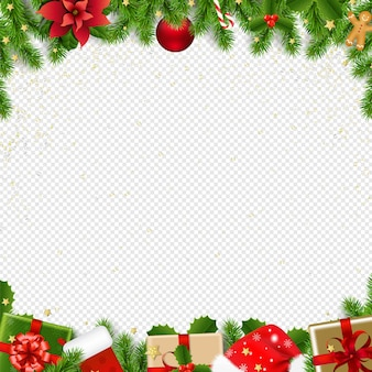 Christmas border with fir tree on transparent