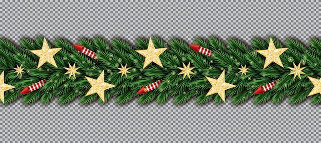 Christmas border with golden glitter stars, christmas tree branches and red rockets