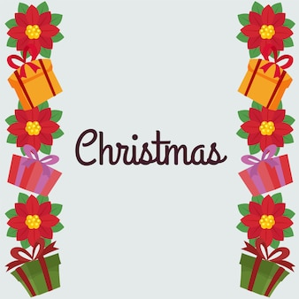Christmas border with poinsettia and gift box