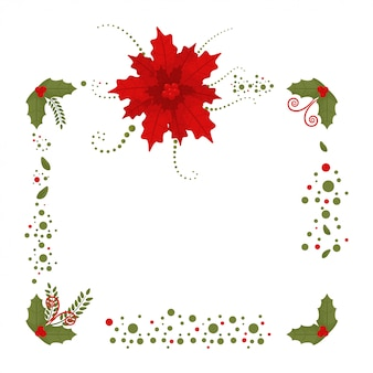 Christmas border with poinsettia and holly berry leaves  decoration element with isolated on a white .
