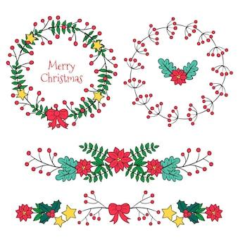 Christmas borders and frames set