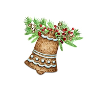 Christmas bouquet gingerbread cookie. pine branches cones, red berries