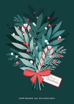 弓、ロリポップ、ヒイラギの果実、冬の植物と葉、松の枝とクリスマスの花束。クリスマスと明けましておめでとうございます。図