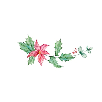 Christmas bouquet with poinsettia, and holly - watercolor illustration.