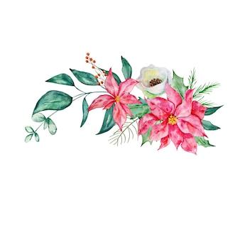 ポインセチア白い花モミの枝とヒイラギの水彩イラストとクリスマスの花束