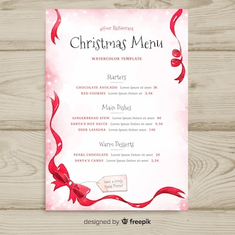 Christmas bow menu template