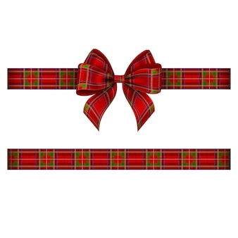 Christmas bow and ribbon with tartan texture