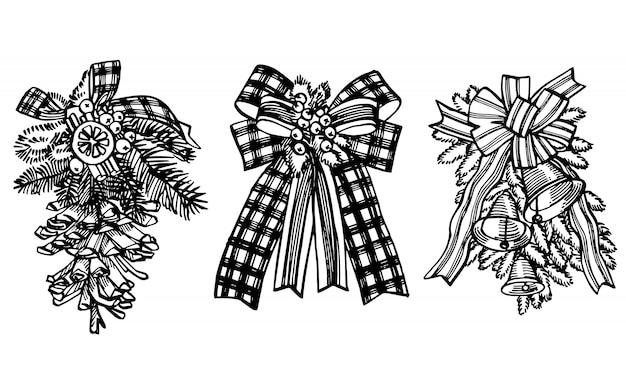 Рождественский бант с ветвями елки. рисованной иллюстрации новый год и рождество элементы дизайна. старинные иллюстрации.