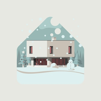Christmas box house in winter snow with mountain & pine trees