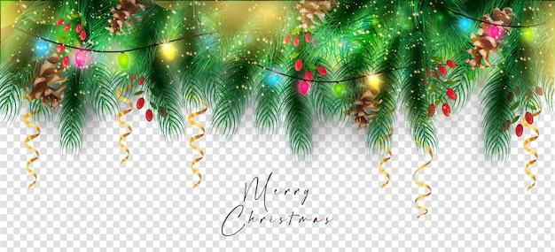 クリスマスの枝、クリスマスの飾りがぶら下がっています