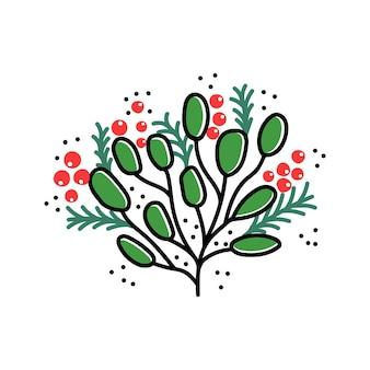 인사말 디자인에 대 한 흰색 벡터 일러스트 레이 션 축제 식물에 고립 된 크리스마스 분기
