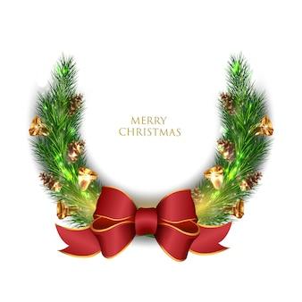 赤いリボンのクリスマスの枝