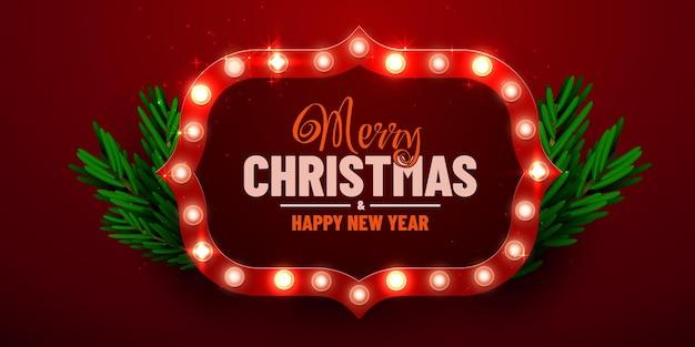 Christmas bright background retro christmas light sign