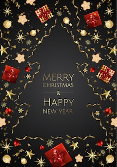Christmas bright background with golden xmas decorations, merry christmas greeting card,