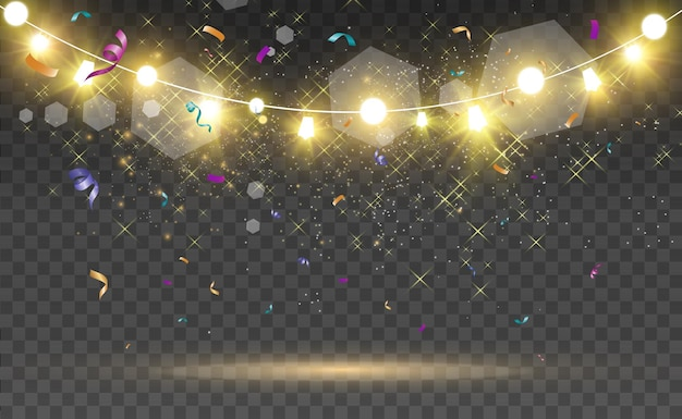 Christmas bright beautiful lights design elements glowing lights for design of xmas greeting c