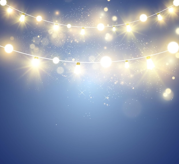Christmas bright beautiful lights design elements glowing lights for design of xmas greeting card