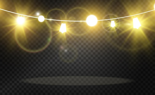 Christmas bright beautiful lights design elements glowing lights for design of xmas greeting